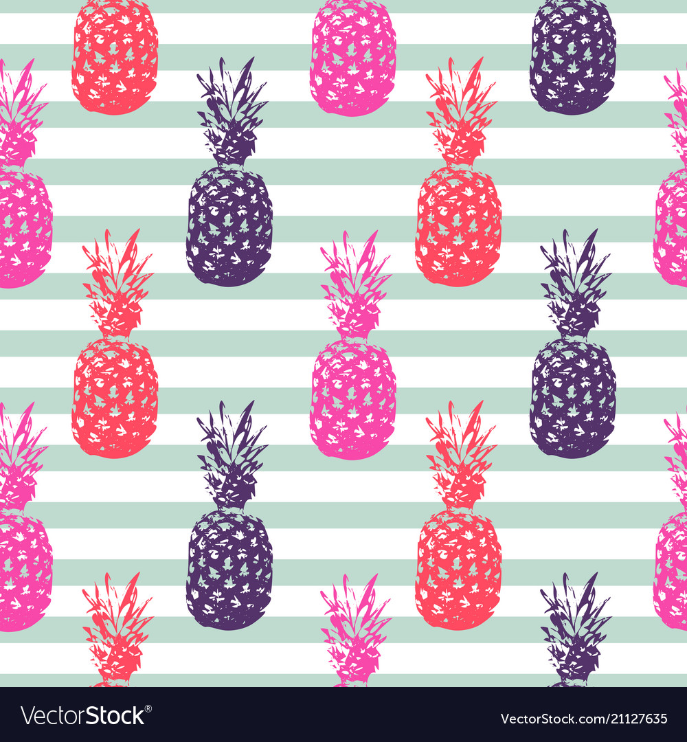 Pineapple summer fruit striped seamless pattern