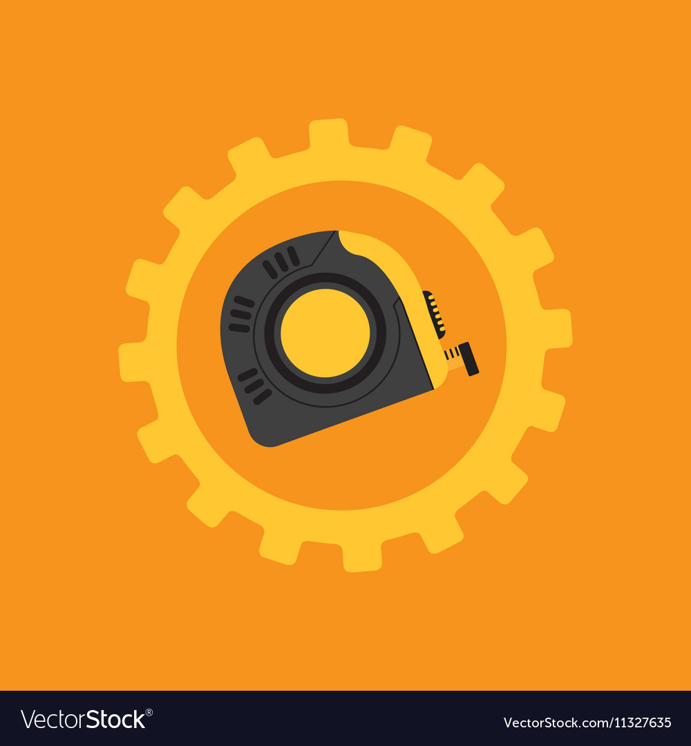 Tool box measure tape construction icon design
