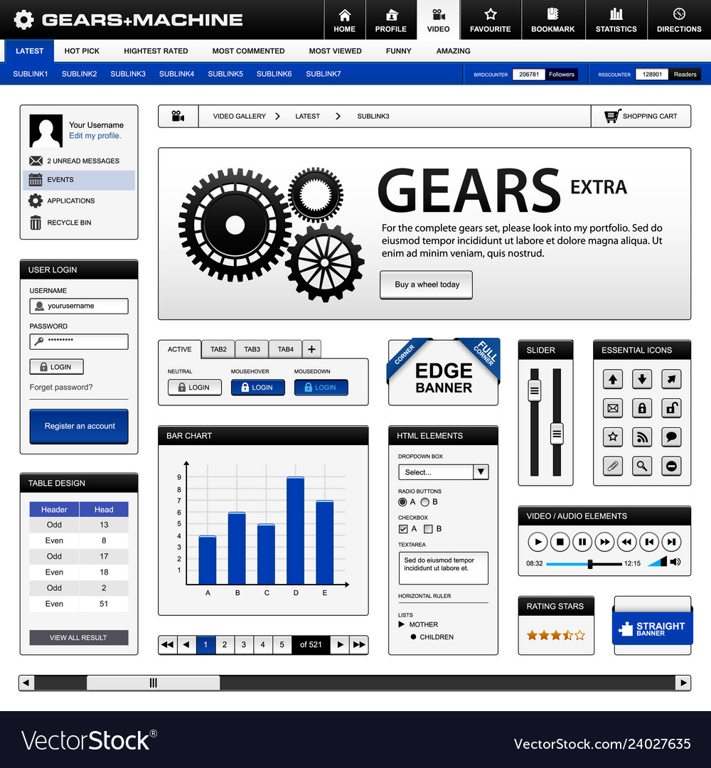 Web design element template a complete set of web