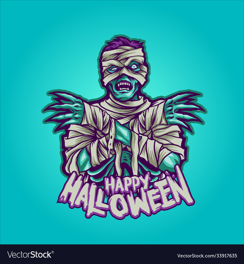 Zombie mummy happy halloween