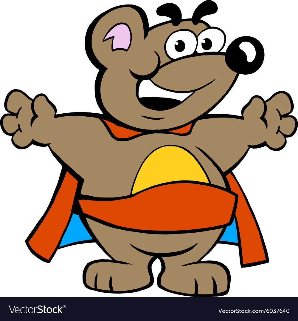 An Happy Strong Super Hero Bear