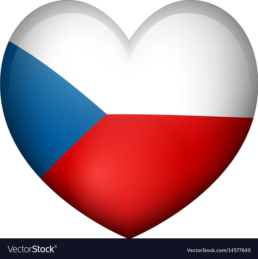 Badge design for czech republic in heart shape