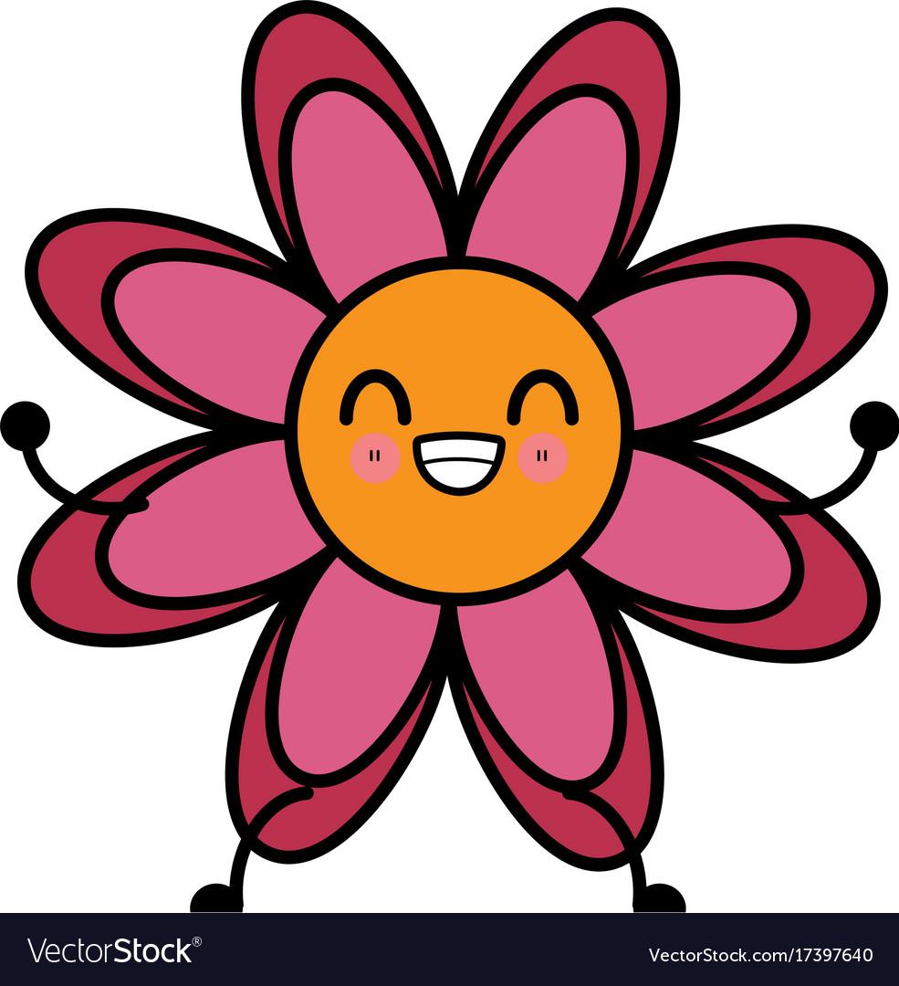 Beautiful Flower Symbol Kawaii Cartoon Royalty Free Vector