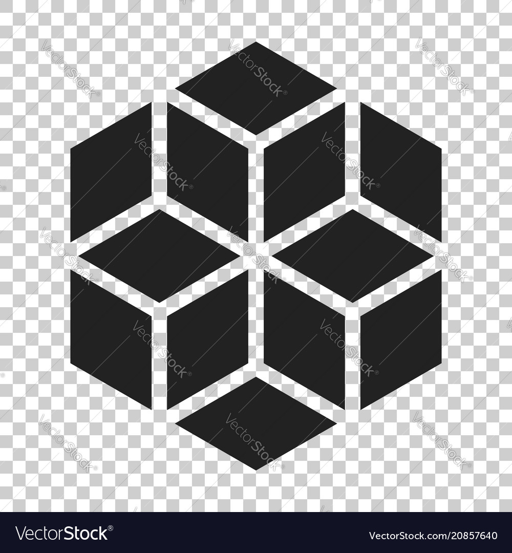 Blockchain technology icon in flat style