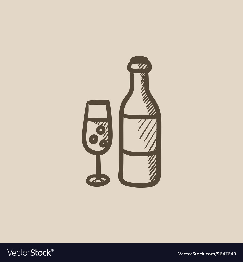 Bottle and glass of champagne sketch icon