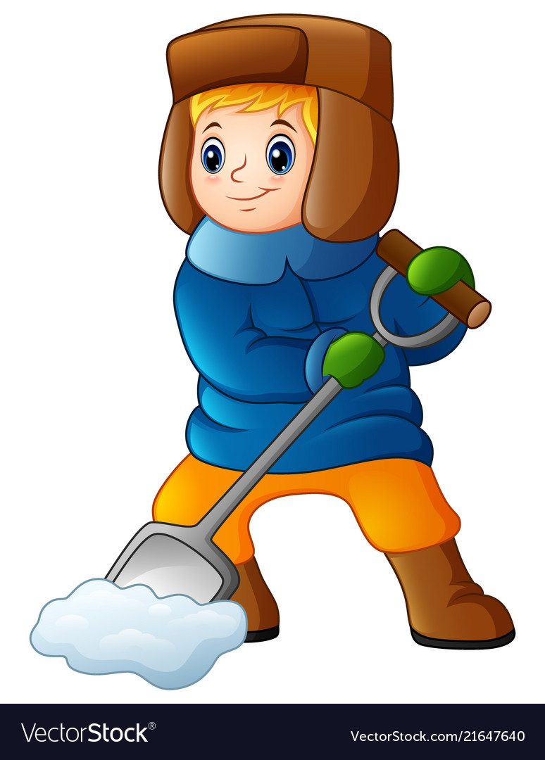 cartoon boy shoveling snow royalty free vector image