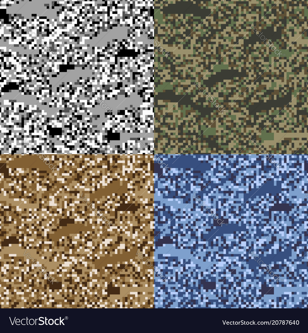 Colorful seamless pattern pixel camouflage set of