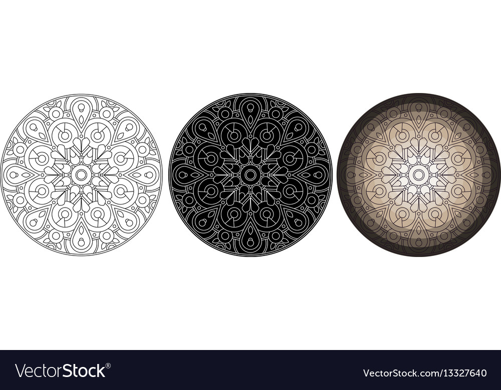 Geometry flower mandala for coloring book round vector image