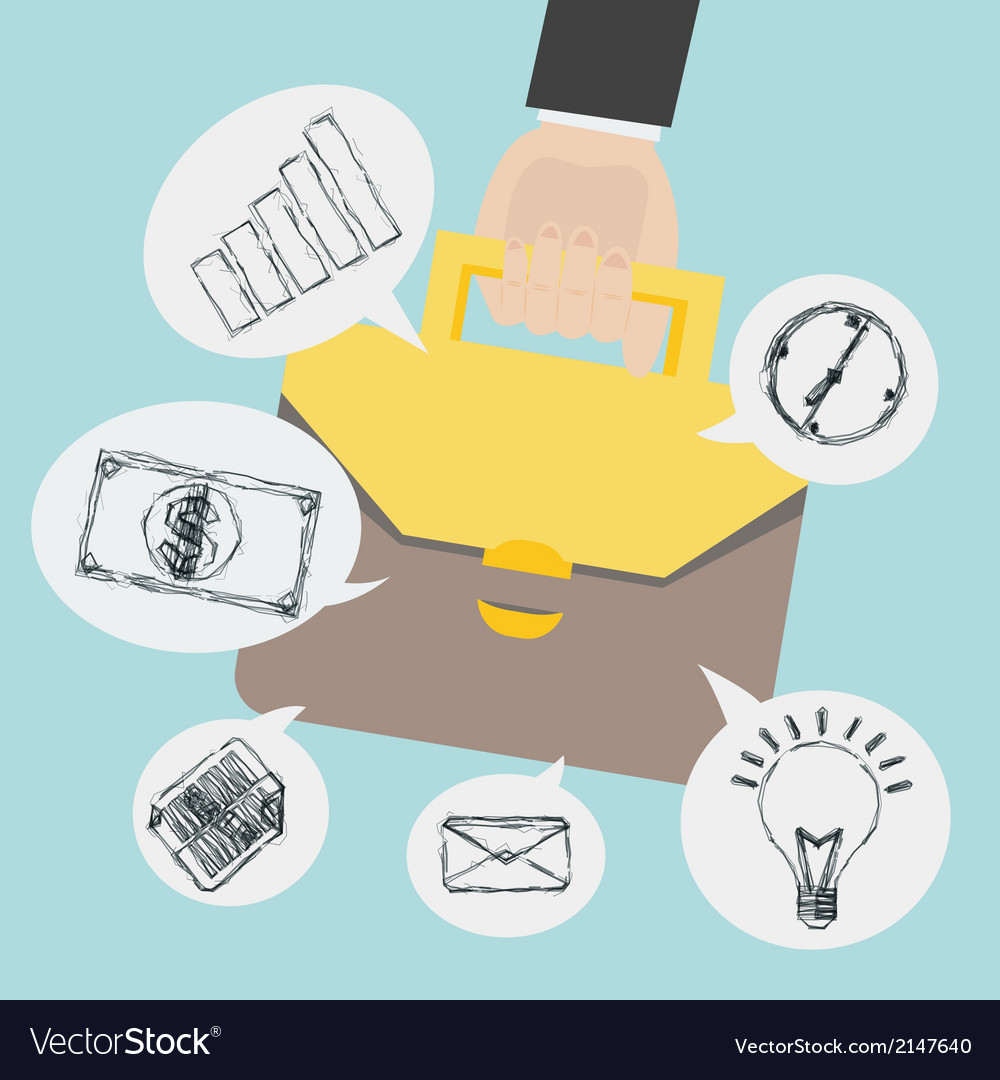 Hand holding briefcase with business sketch icon