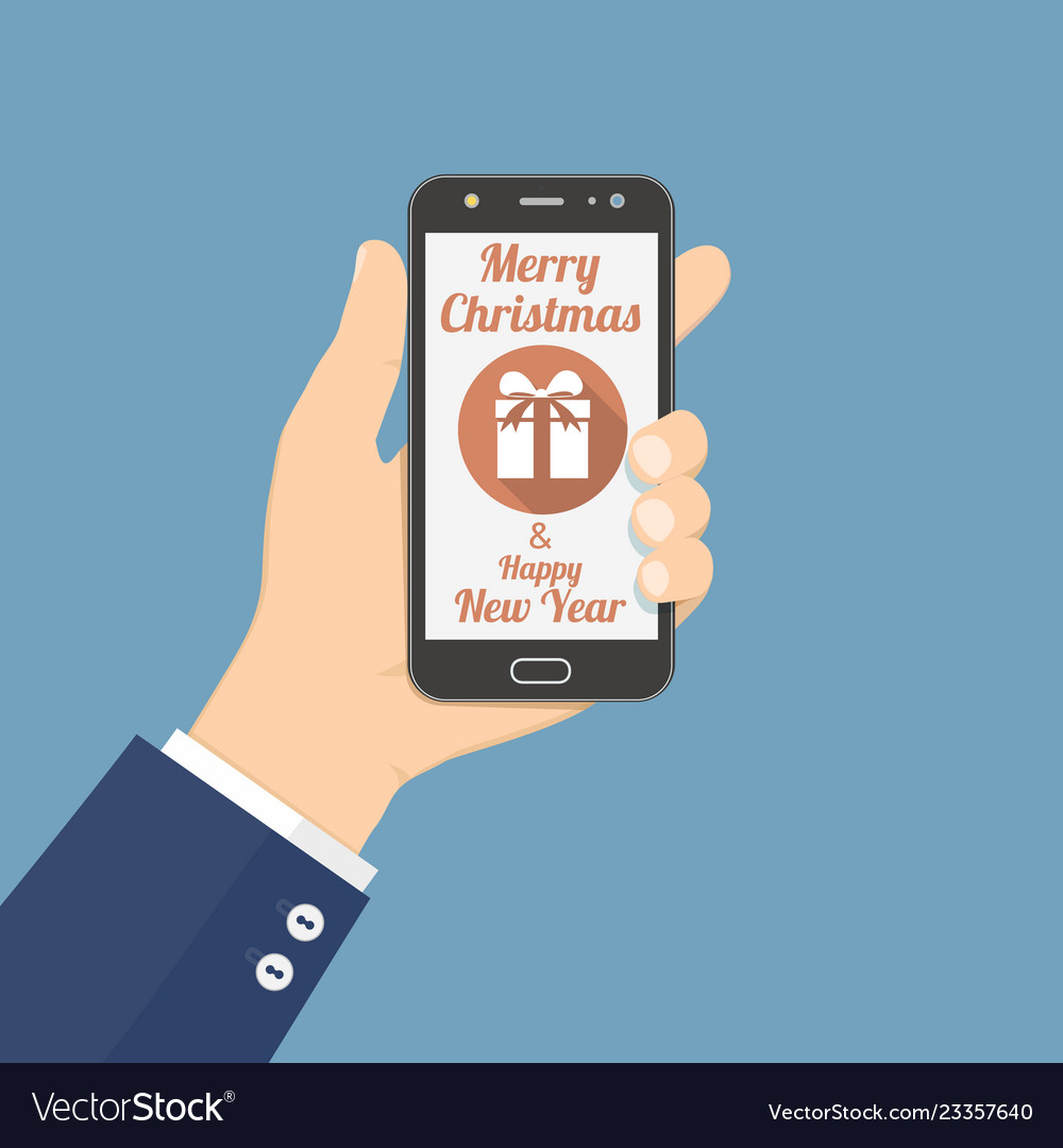 Hand holding smartphone with christmas gift icon