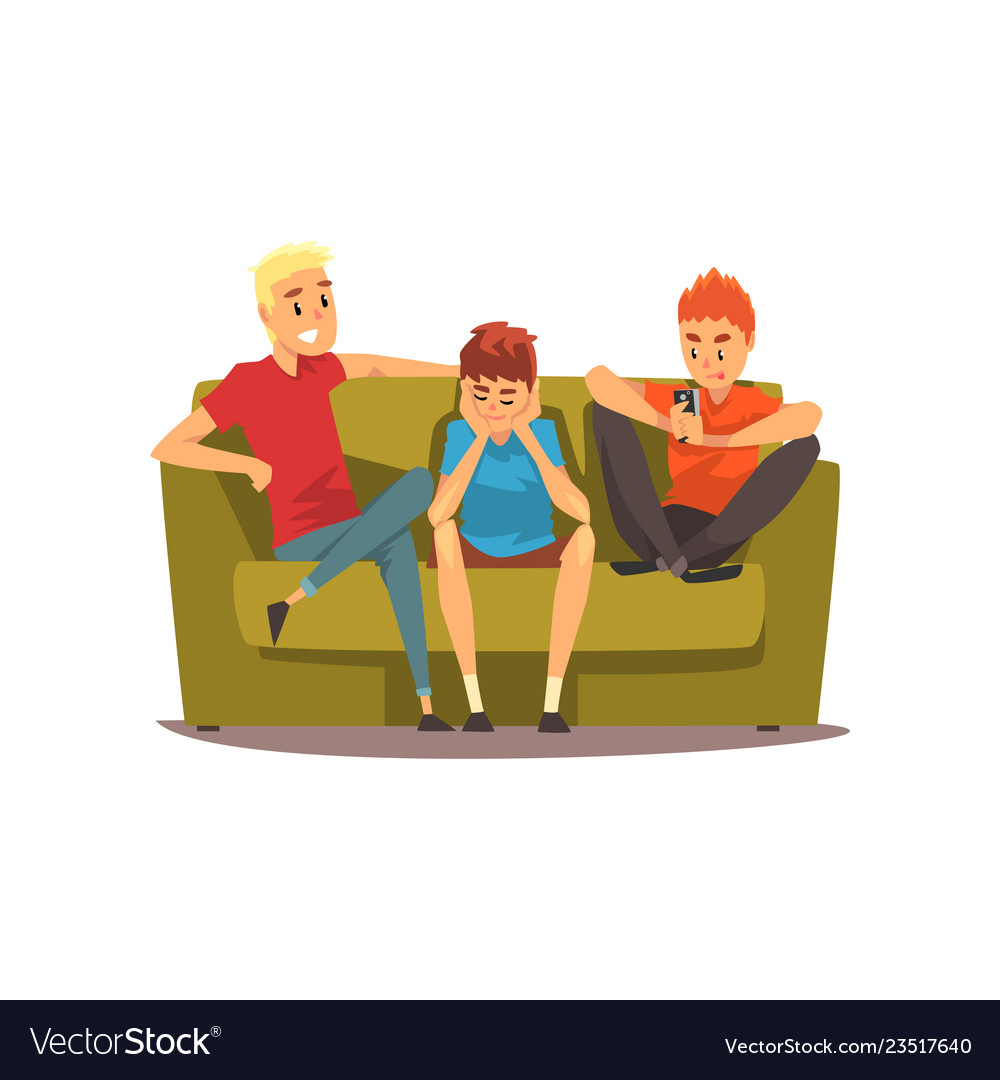 Male Friends Spending Time Together Guys Sitting Vector Image