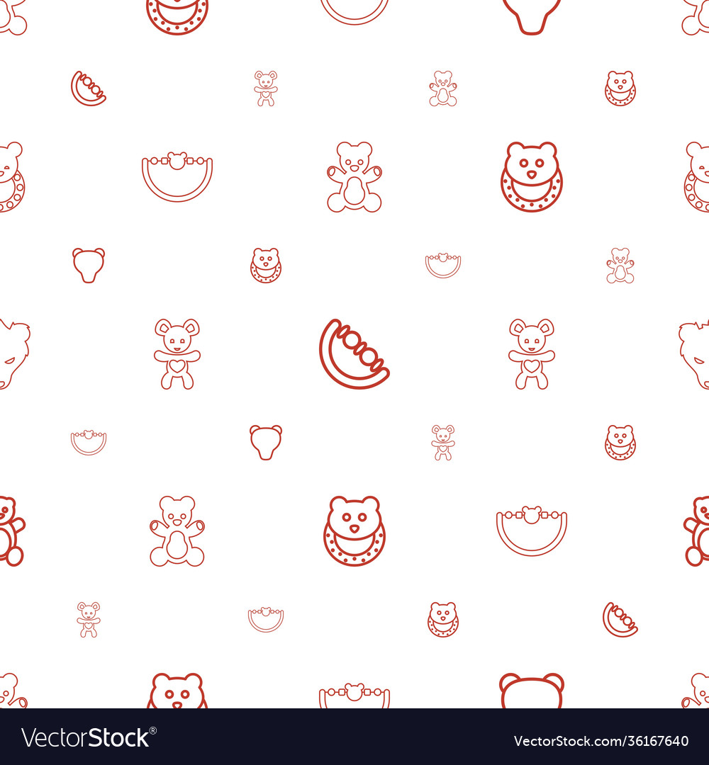 Teddy icons pattern seamless white background