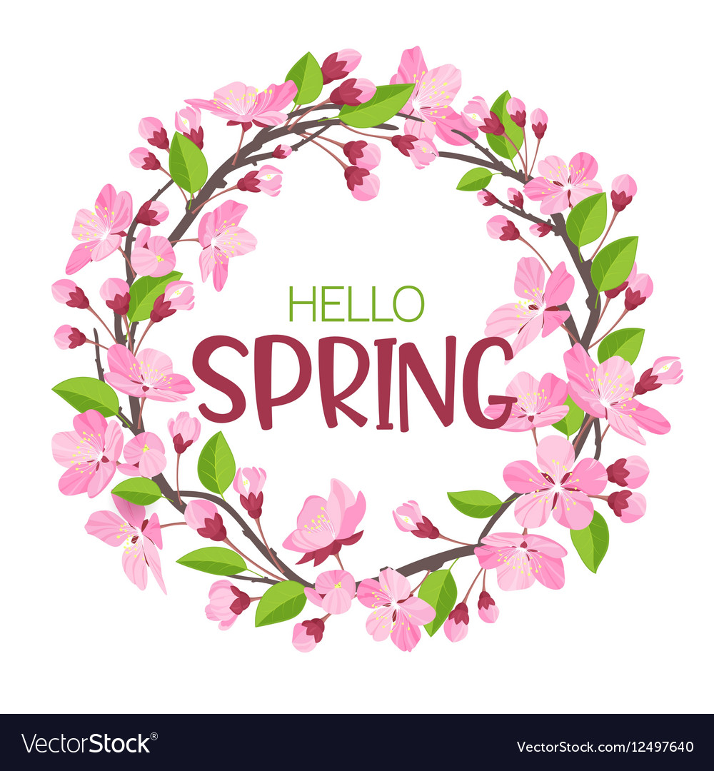Wreath from spring flowers Blossoming branches of