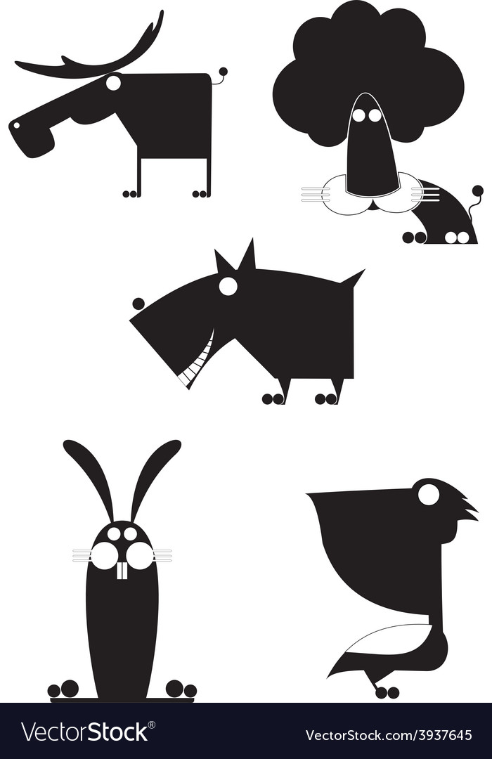 Art animal silhouettes collection