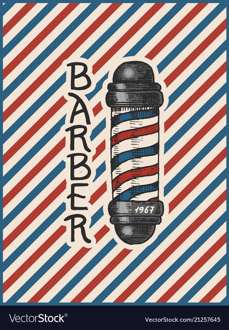 Barber shop pole badge label logo hipster emblem