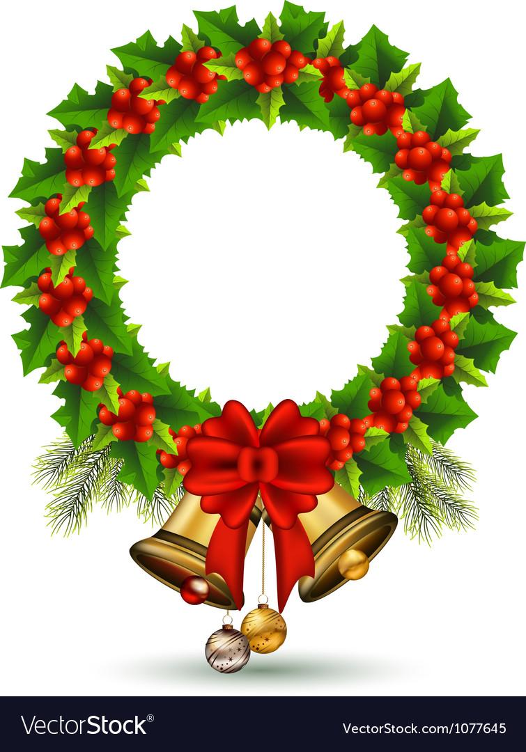 beauty holly christmas frame vector image - Free Christmas Photo Frames