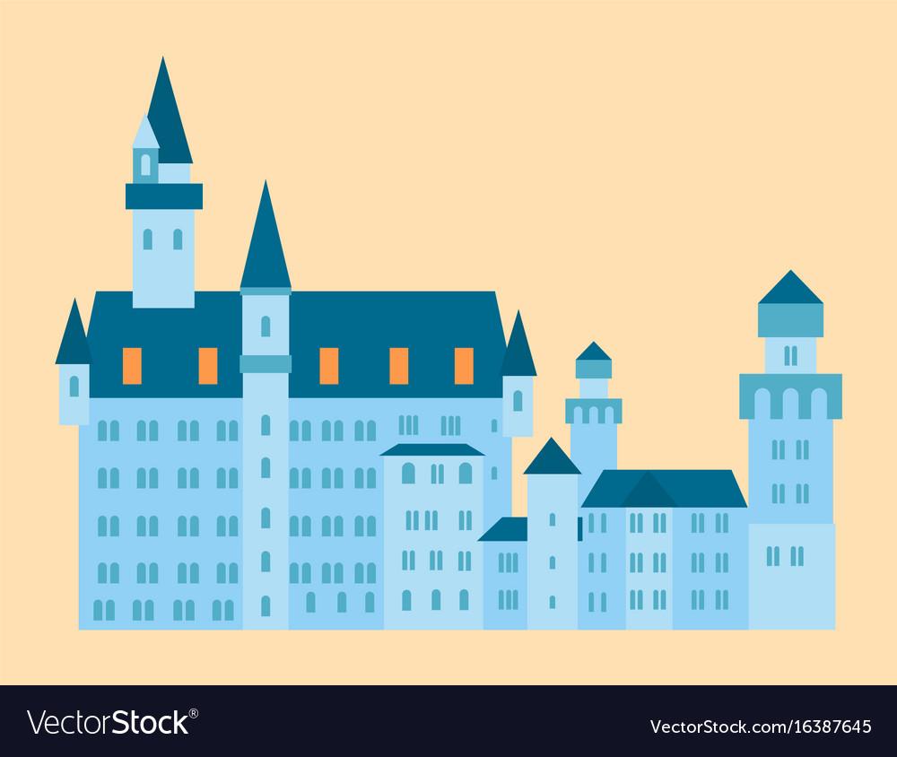 Castle tower tourism travel design famous building vector image