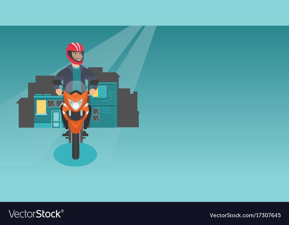 Caucasian man riding a motorcycle at night