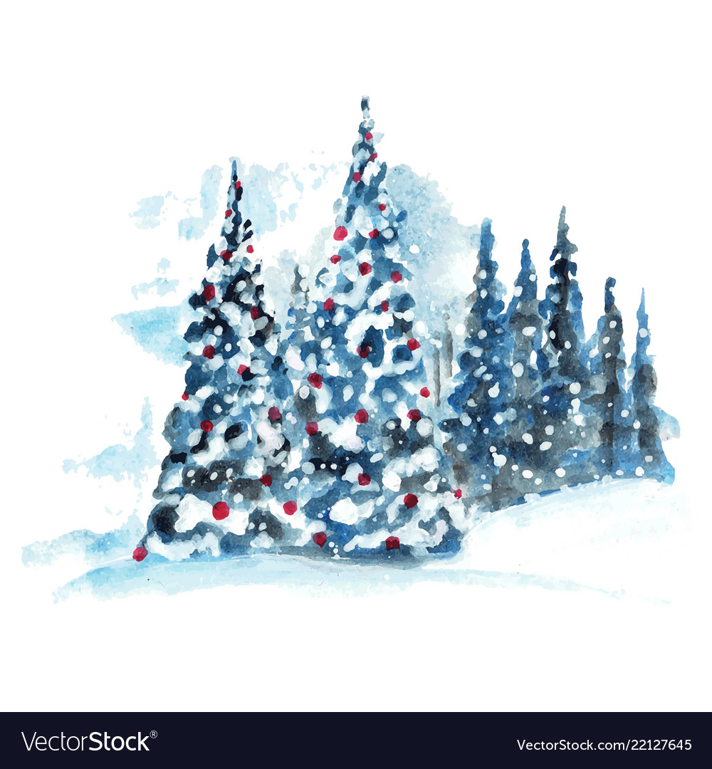 Hand painted watercolor christmas tree