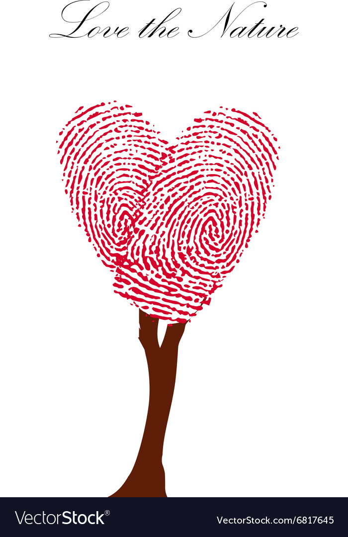Heart pink tree with finger prints EPS