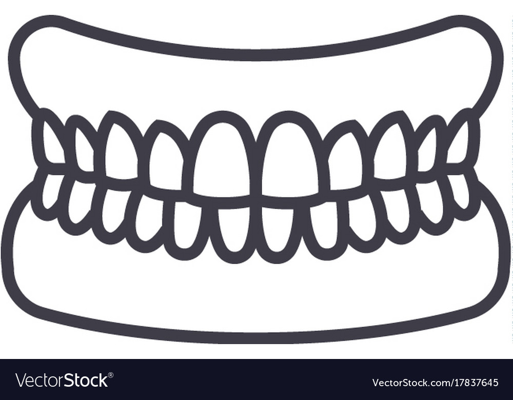 Jaw with teeth line icon sign