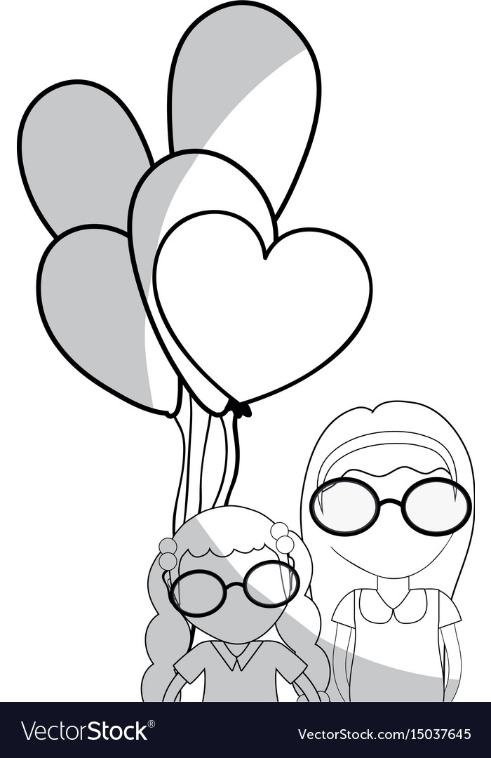 Line pretty girls with hairstyle and balloons vector image