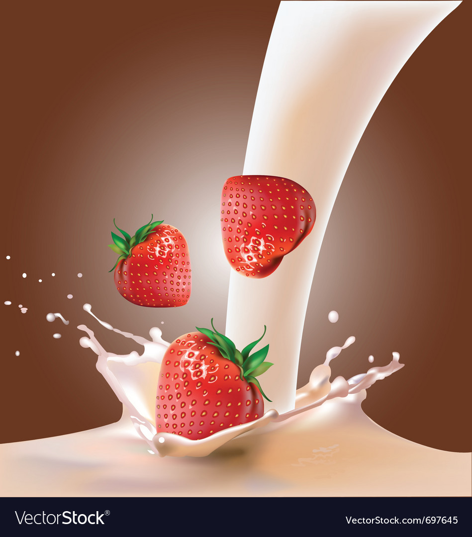 Milk and strawberries vector image