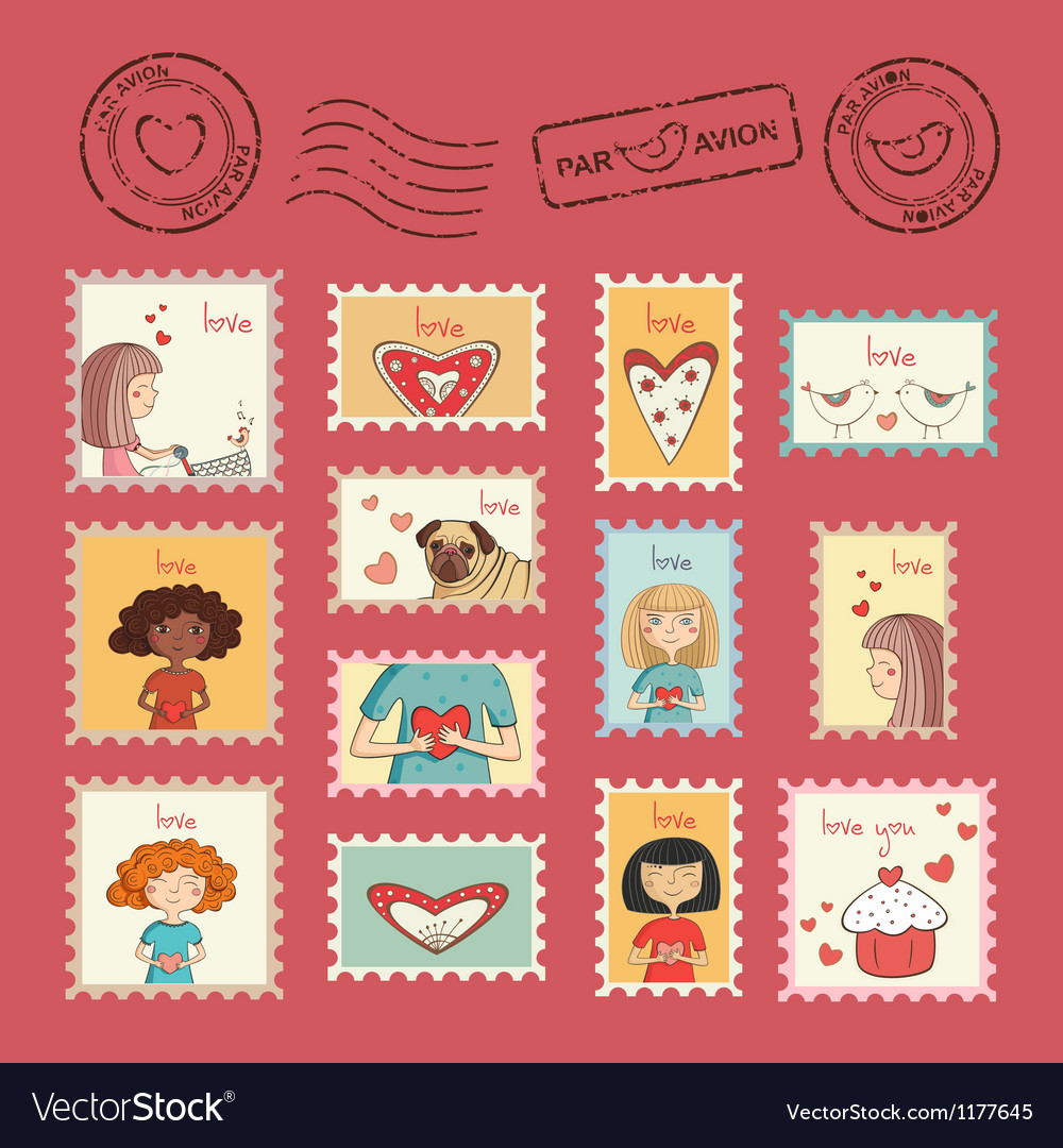 post stamps valentine royalty free vector image