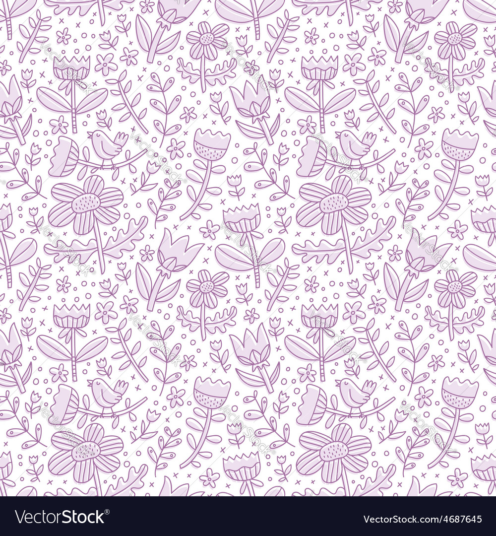 Purple floral seamless pattern