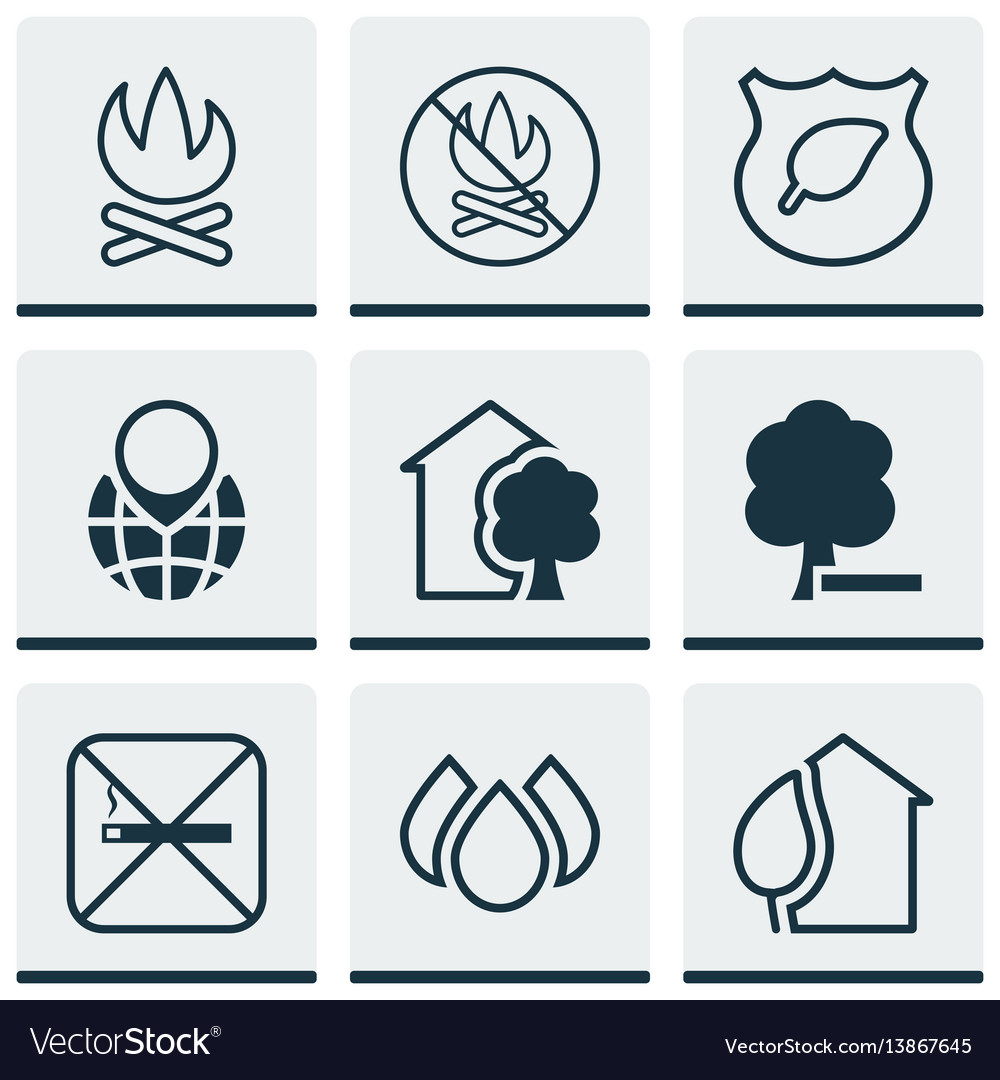 Set of 9 eco-friendly icons includes cigarette