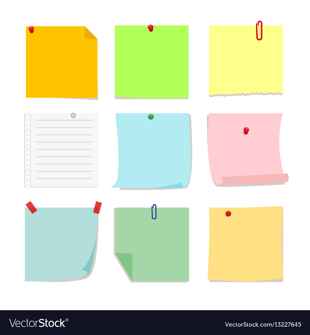 Set of detachable stickers paper notes