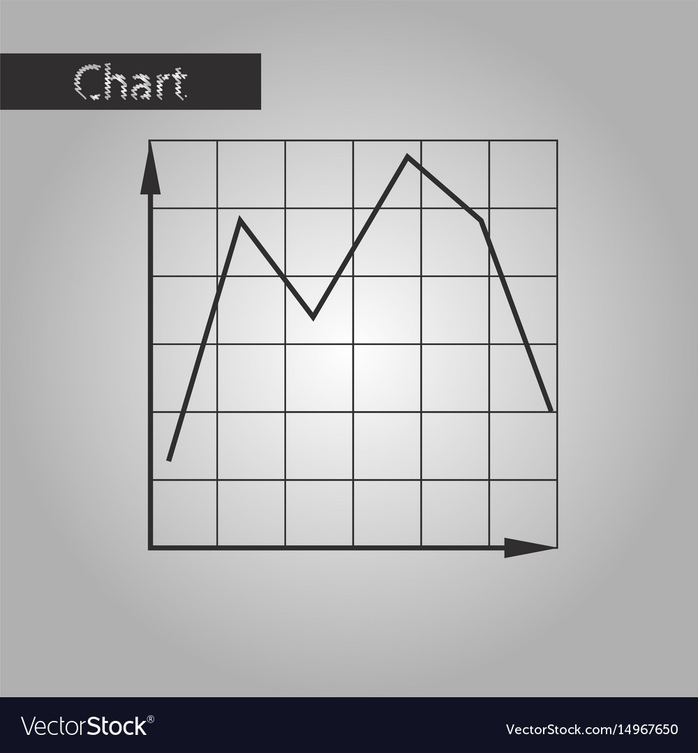 Black and white style icon falling graph