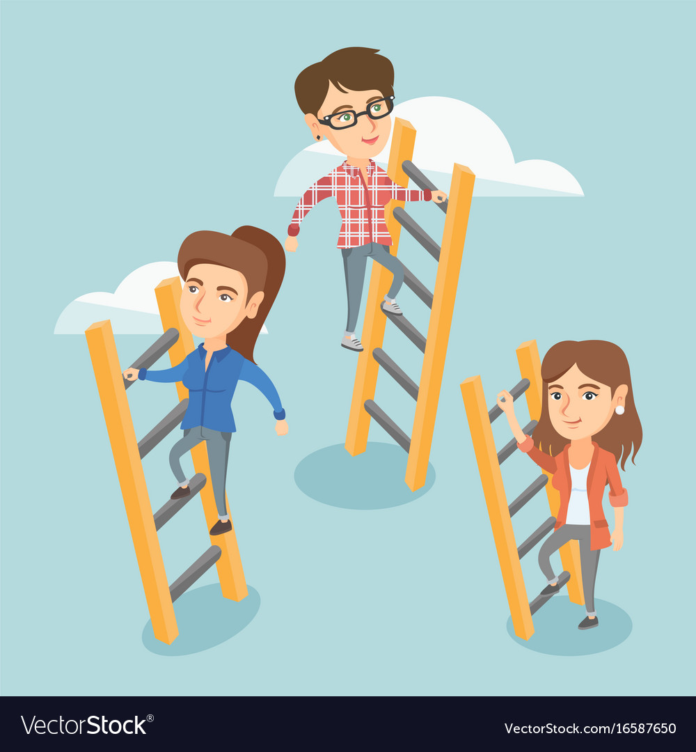 Caucasian business people climbing to success vector image
