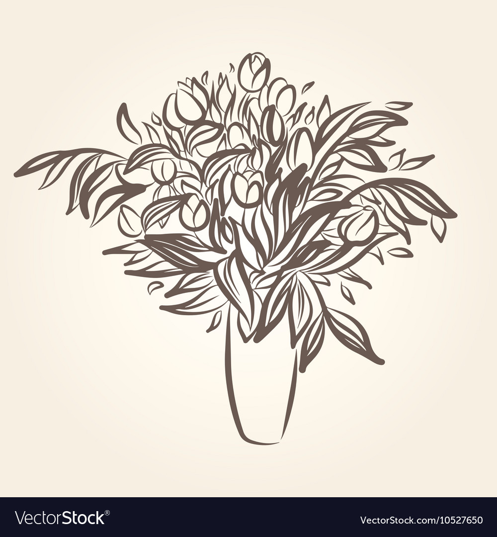 Drawing of beautiful tulips in a pot