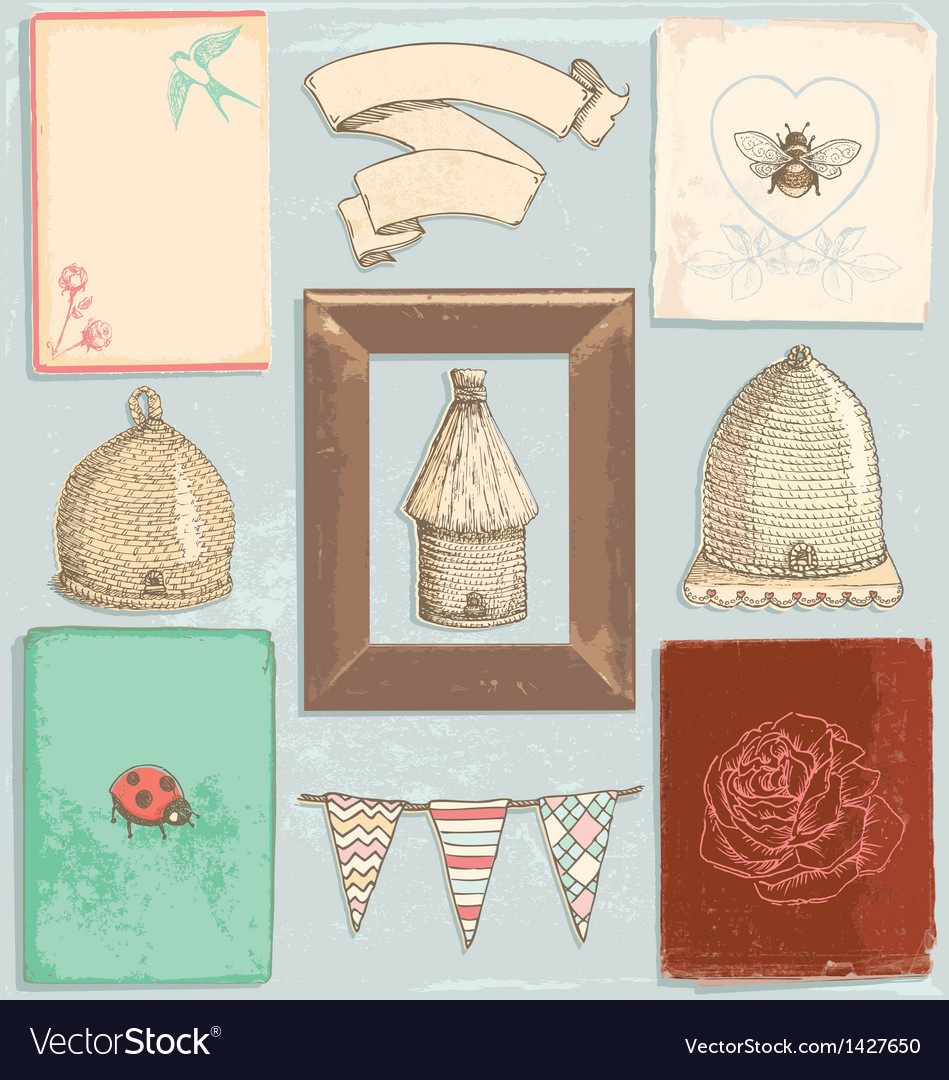 Hand Drawn Vintage Garden Elements Set