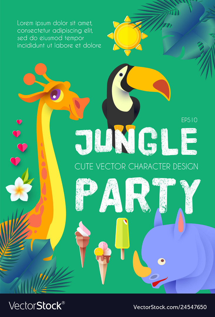 Jungle patry exotic animals design template