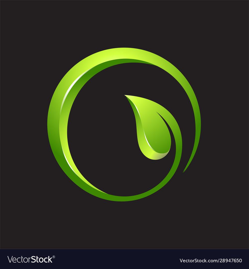 Leaf circle 3d logo