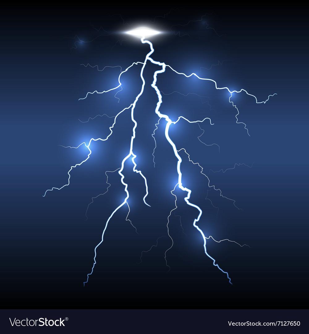 Lightning Flash Strike Dark Background Royalty Free Vector