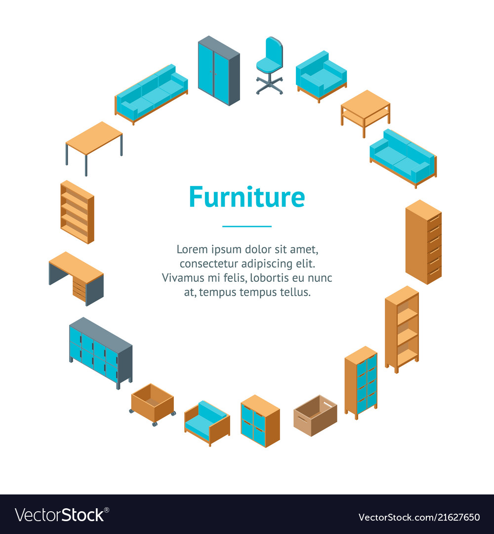 Office furniture 3d banner card circle isometric