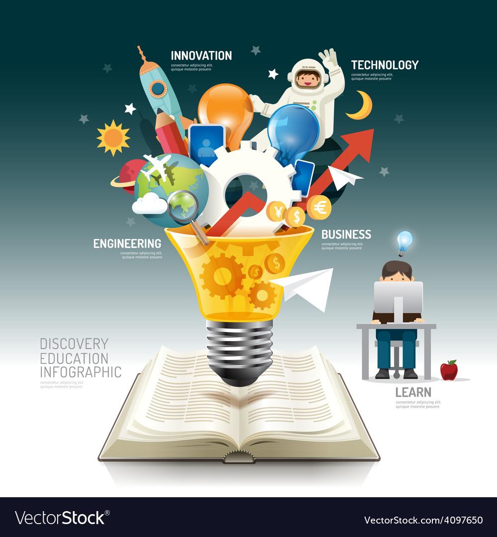 Open book infographic innovation idea light bulb