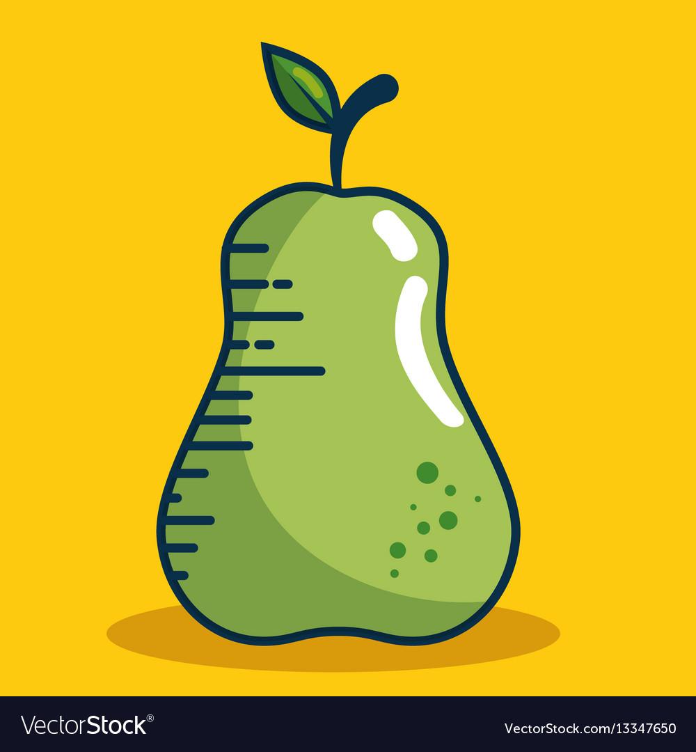 Pear fresh fruit handmade drawn