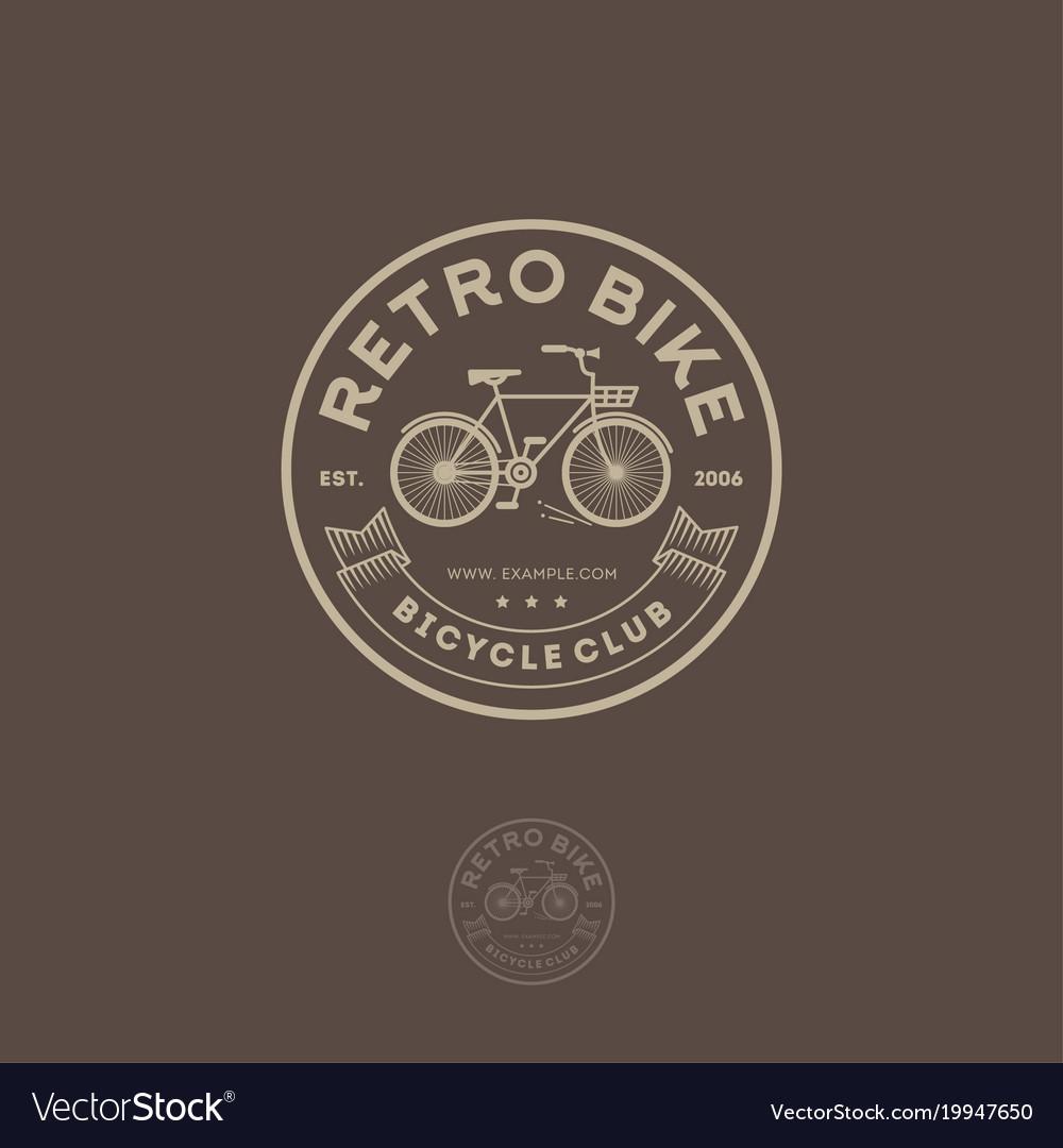 Retro bike logo cycling club emblem