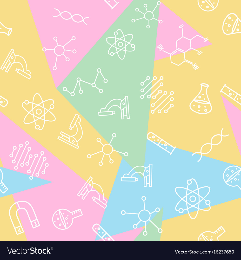 Science seamless pattern back to school print