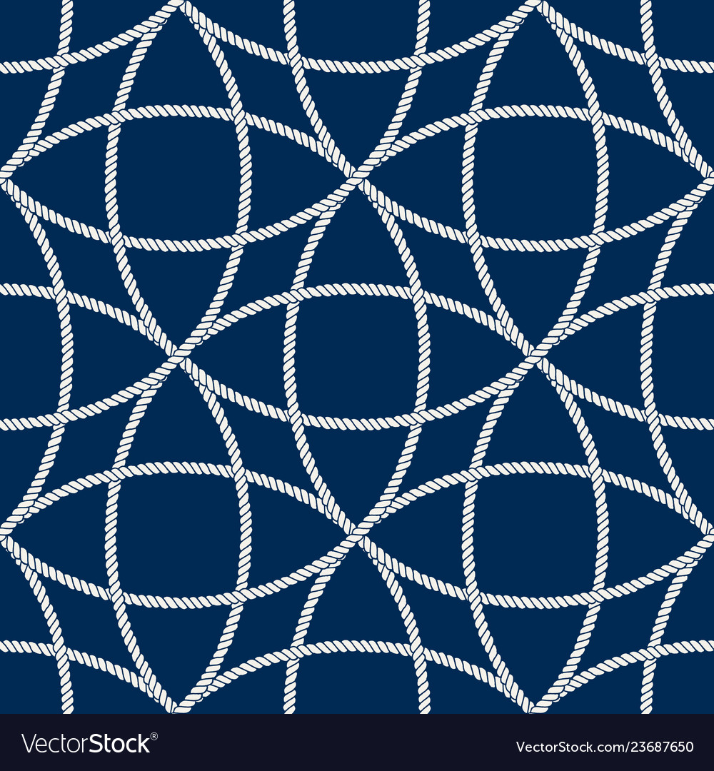 Seamless nautical rope pattern white on dark blue