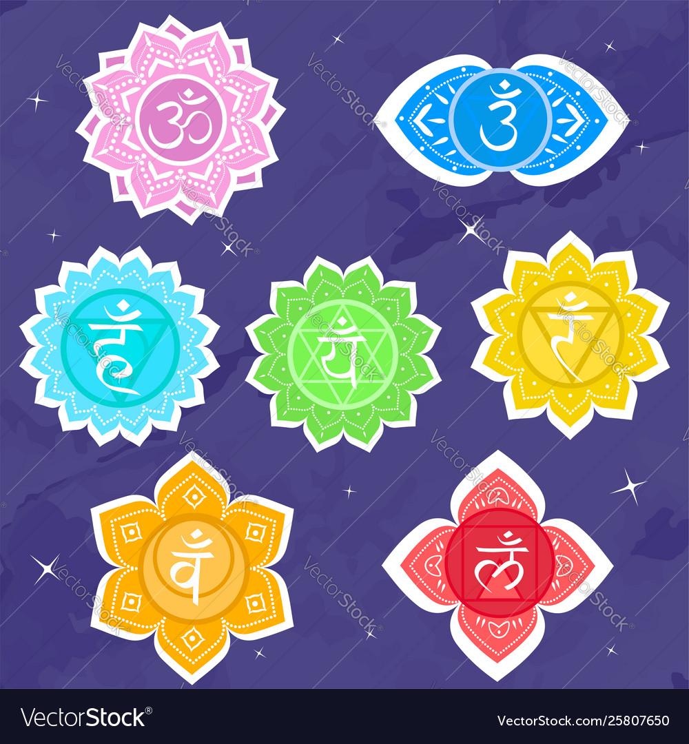Set chakras symbol meditation and spiritual