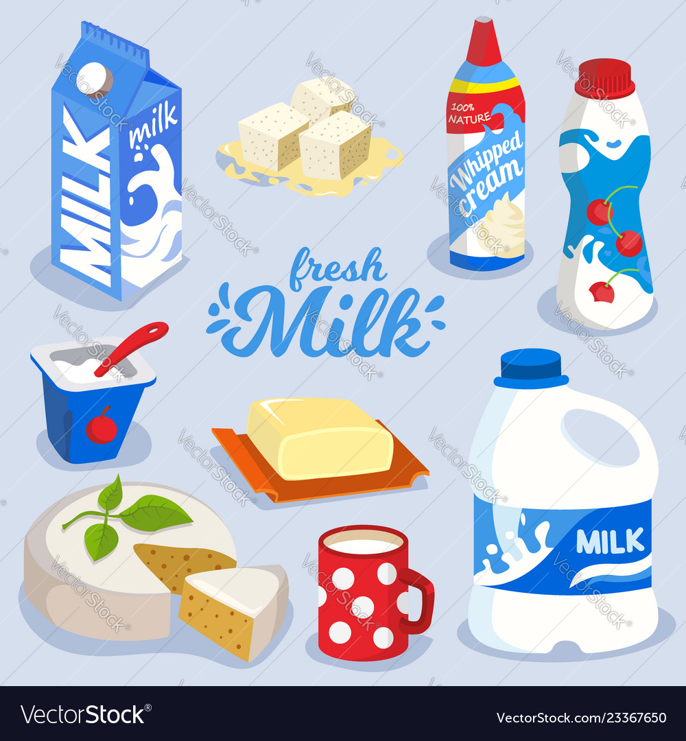 Set of milk products dairy produce in colorful