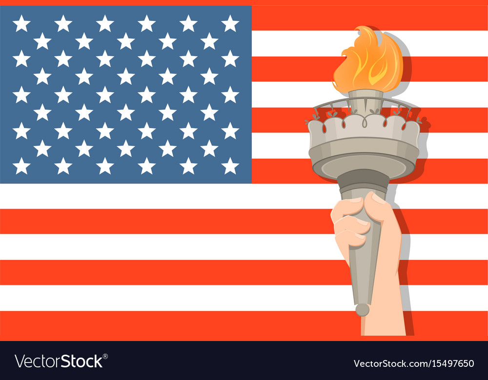 Statue of liberty hand with torch and usa flag on