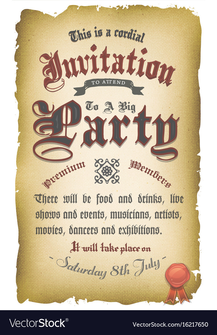 Vintage old medieval invitation poster royalty free vector vintage old medieval invitation poster vector image stopboris Image collections