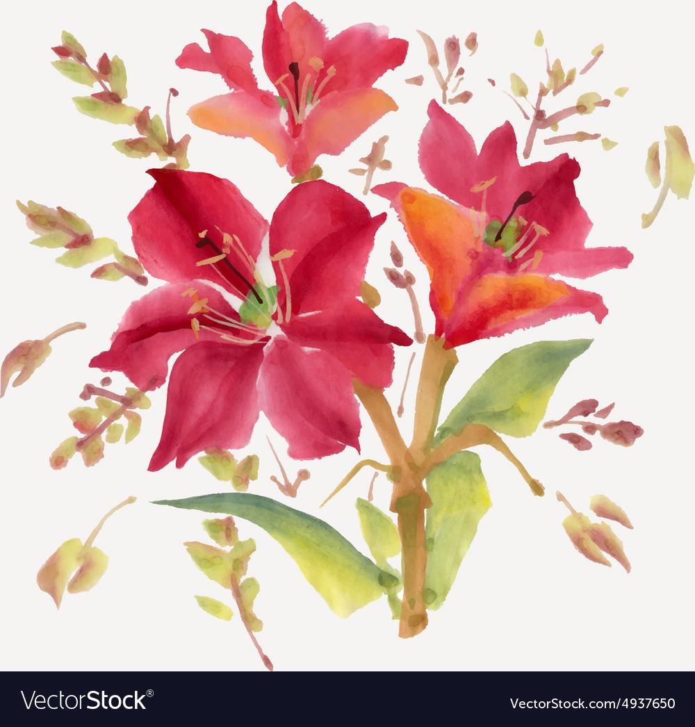 Watercolor flowers Royalty Free Vector Image - VectorStock