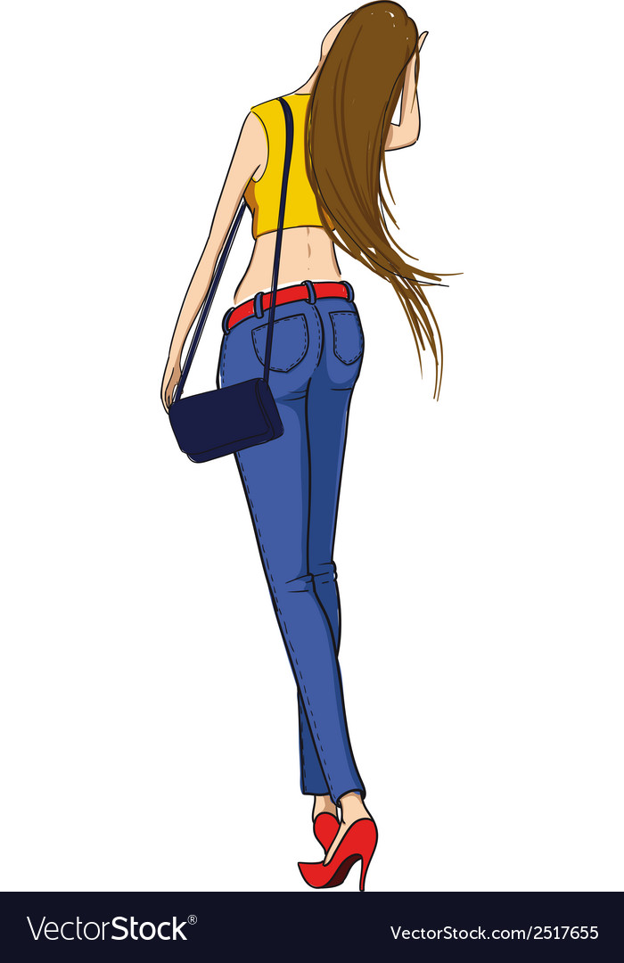 Beautiful slim girl walking vector image